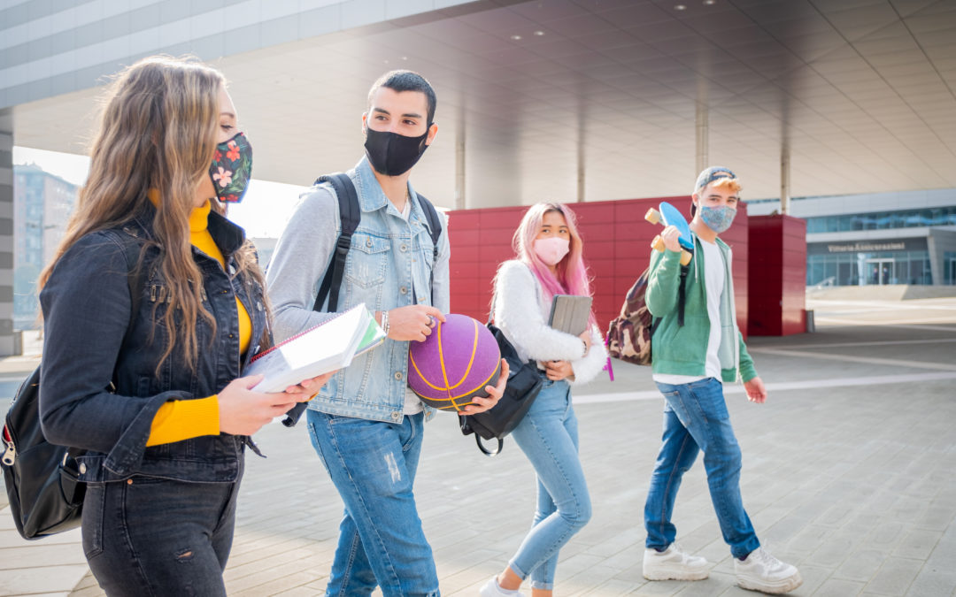 College students wearing masks